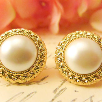 Vintage Rope Trim Pearl Earrings  by Reneeloveandco