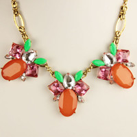 Orange Petal Statement Necklace,  Jeweled Bee Necklace,Fashion Gemstone Bib,Gift for Girls