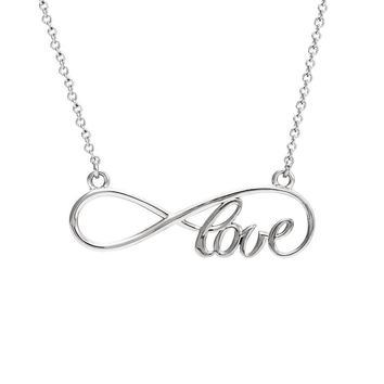 Love Infinity Necklace in 14k White Gold, 16 Inch