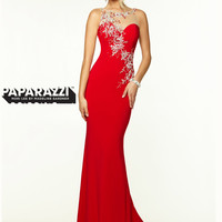 High Neck With Sheer And Beaded Back Paparazzi Prom Dress By Mori Lee 97098