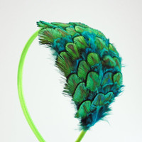 Neon Peacock Headband, neon green, peacock feathers, hair fascinator, feather accessory, peacock wedding, bridesmaids
