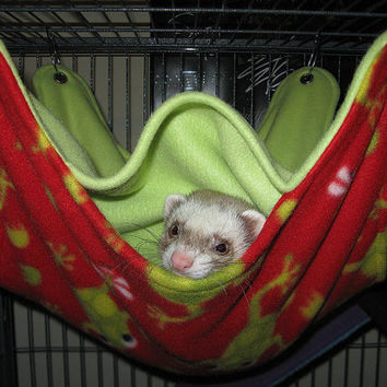 HUGE Rat, Ferret, Chinchilla Hammock/Bed with  5 Openings and 3 Layers Fleece- 70 Plus Fabric Choices