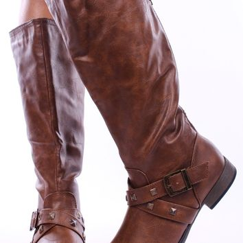 TAN CRINKLE LEATHER STUD STRAPPY REAR ZIP KNEE HIGH BOOTS
