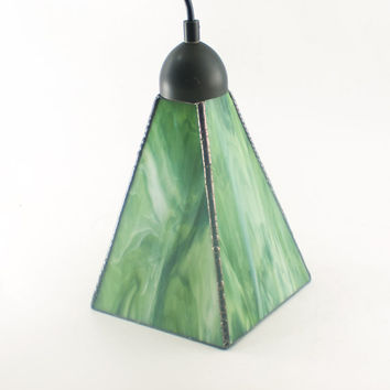 Home Interior Lighting, Green Glass Pendant Light, Ceiling Fixture, Kitchen Island, Hanging Lamp, Choice of Hardware, Modern Art Glass