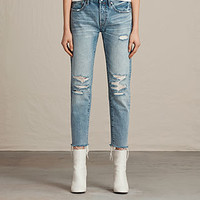 ALLSAINTS US: Womens Muse Slim Destroys Jeans (MID INDIGO BLUE)