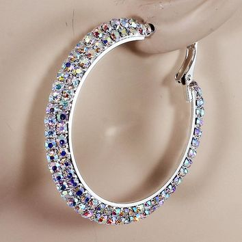 "2"" silver ab crystal 2 row hoop earrings pierced basketball wives"