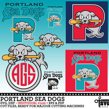 Portland Sea Dogs Monogram Frame, Logos. Individual Digital Vector Cut Files. SVG, dxf, eps, pdf. Silhouette, Cricut vinyl Die Cutting CF-99
