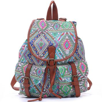 College Aztec School Bag Travel Bag Canvas Lightweight Backpack