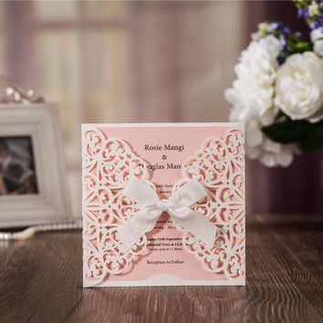 50pcs/set free envelop and free seals Hollow Design Wedding Invitation card with pink insert CW6177