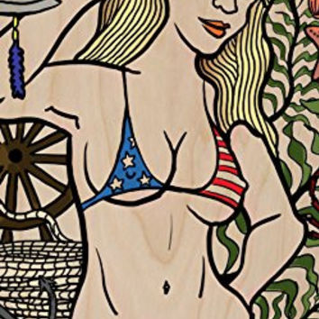 'Hey Sailor' Sexy USA Patriotic Bikini Girl - Plywood Wood Print Poster Wall Art