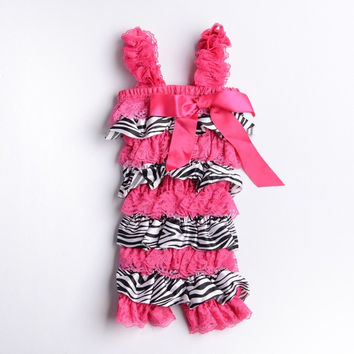 NewBorn Baby Zebra Roseo Ruffles ONE PIECE Petti Romper Kid Girl Dress Outfit = 1958227140