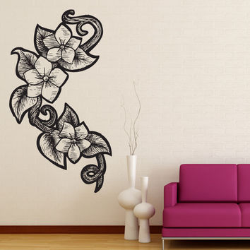 Vinyl Wall Decal Sticker Wood Burn Floral Vine #1189