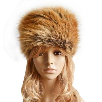 Fancy Fashion Russian Lady Faux Rabbit Fur Knitted Cap Women Winter Warm Beanie Hat Female Fur Caps Ladies Headgear Gorra F1