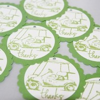Golf Cart Thanks Party Favor Tags Set of Ten