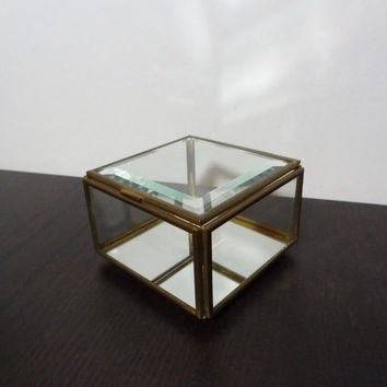 Vintage Square Glass and Brass Display Box with Mirrored Bottom