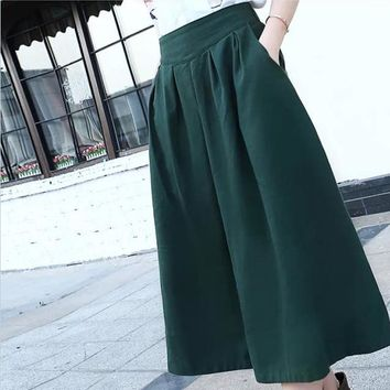 Women Mid-Calf Length Pleated Elastic Waist Skirts