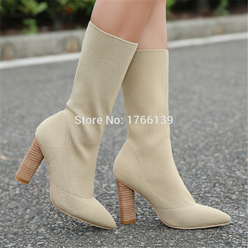 2017 Hottest Stretch Fabric Women Knit Sock Boots Chunky High Heel Shoes Woman Pointed Toe Ankle Booties Botines Mujer Pumps