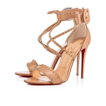 5def0cafc1ce Cl Christian Louboutin Choca Spikes Nude light Gold Leather Sand