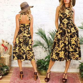 Vintage 50's 60's Batik JUNGLE Print Dress With Pockets ||  Tiki PinUp Sundress Full Circle Skirt  ||Party Dress ||  Size Small || US 2 To 4