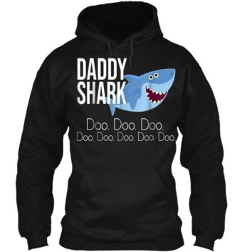 """""""Daddy Shark"""" Baby Mommy Daddy Matching Family Shark  Pullover Hoodie 8 oz"""