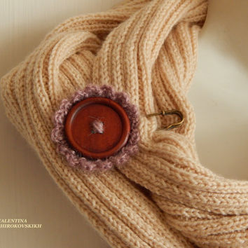 Beautiful  Handmade Brooch.Yarn Knitted Boho Brooch.Shabby Chic