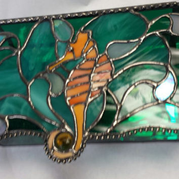 Adorable Stained Glass Seahorse Jewelry Box, Vanity Accessory, Unique,Functional...A Great Gift!