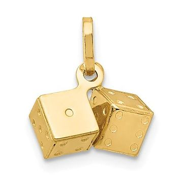 14K Yellow Gold Pair of Lucky dice Vegas Necklace Charm