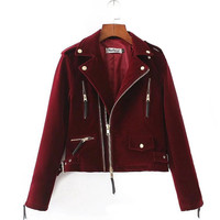 Slim Multi Zipper Motorcycle Velvet Jacket