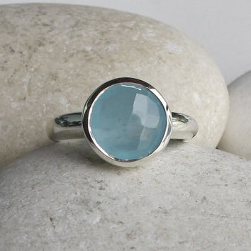 Blue Gemstone Ring- Chalcedony Ring