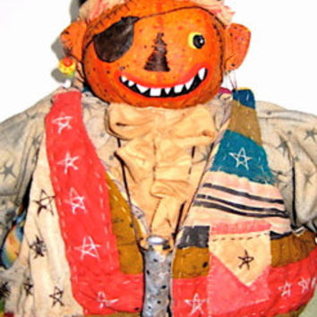 "OOAK Primitive Folk Art Pumpkin Head Doll  ""Pirate Pumpkin Boy"" Original Design w/Handmade Sword, Hook, Telescope and Loads of Detail."