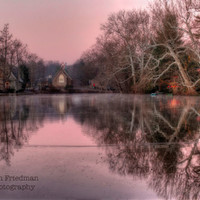 December Morning on Lake Afton, Landscape Photography, Sunrise, Pink Sky, Bucks County, Pennsylvania, Christmas Lights, Yardley, Art Print