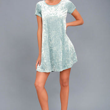 Nivea Light Blue Crushed Velvet Swing Dress