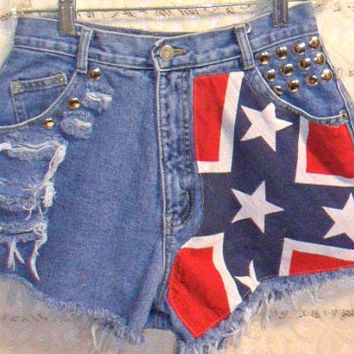 Vintage High Waisted  Denim Shorts - Studded REBEL  Flag Style--Waist 27.5 inches