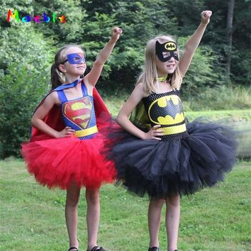 Batman Dark Knight gift Christmas 2018 Superman Batman Girls Tutu Dress with Mask Halloween Cosplay Costume Baby Kids Party Dresses for Girl Tulle Dress Christmas AT_71_6