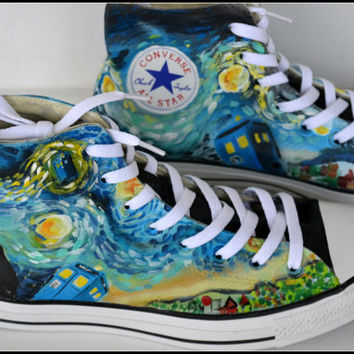 Painted DOCTOR WHO Shoes, Custom Painted Mens Converse, Doctor Who Converse, Custom Sneakers, Unisex Hightop Sneakers, Doctor Who Converse