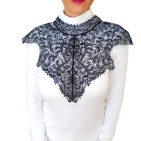 Steampunk Victorian Black Lace Statement Bib Body Necklace Jewelry, Shoulder Necklace Body Tattoo, Halloween, Free Shipping