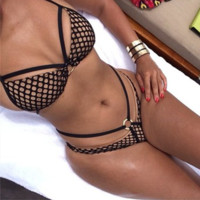 Gauze Tartan Beach Bikini Set Swimsuit Swimwear