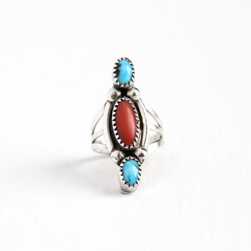 Vintage Sterling Silver Turquoise & Coral Ring - Retro 1960s Native American Tribal Southwestern Navette Marquise Jewelry