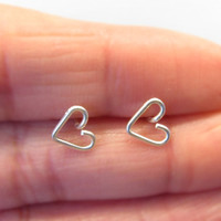Tiny Sterling Silver Heart Earrings, Sterling Silver Heart Stud Earrings, Sterling Silver Stud Earrings