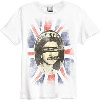 Sex Pistols Men's  God Save The Queen Slim Fit T-shirt White