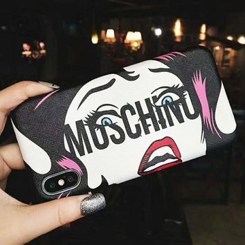 Moschino Fashion New Letter Lip Print Glasses Women Men Phone Case Protective Cover Black
