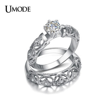 UMODE 2016 New Hot Luxury Carving Filigree Band AAA CZ Wedding Ring Sets For Women Jewelry Fashion Whosale Anillos Gift AUR0130