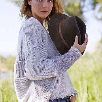 Free People Womens Chunky Destroyed Pullover