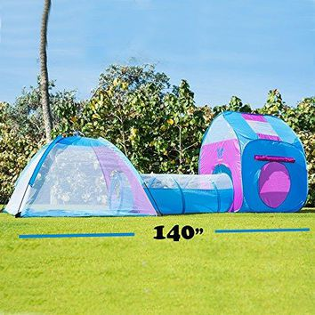 Kids Pop Up Play Tent With Tunnel 3-in-1 Playhut Hours of Indoor Outdoor Fun Popup X-Large Ball Pit for Children - Pink and Blue