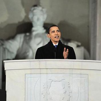 President-Elect Barack Obama Lincoln Memorial Speech January 18 2009 McMahan Photo Archive Art Print