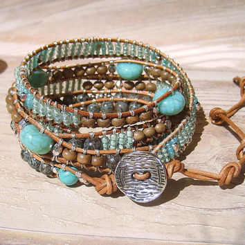 Boho Wrap Bracelet Turquoise Leather Wrap Boho Jewelry 5x Wrap Bohemian Jewelry Aqua Green Cream Brown Gemstone Bracelet Leather Jewelry