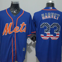 2016 New Arrival Men MLB New York Mets #33 Matt Harvey Blue USA Flag Fashion Stitched Jerseys MLB Baseball Jersey