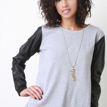 Vegan Leather Sleeve Raw Hem Sweatshirt Top