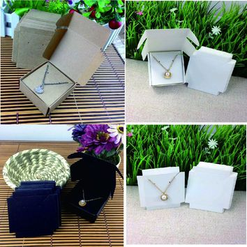 Fashion Earring/Necklace  BOX Kraft BOX Pillow BOX For Earring /Necklace /Ring /Jewelry Set /Hand Made Gift 50box +50inner card