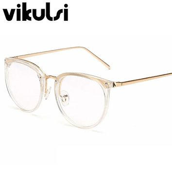 Fashion Aviator Glasses Lunette 2016 Men Vintage Round Metal Frame Clear Lens Glasses Optical Glasses Women Mirror Plain